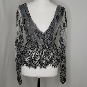 Topshop Cropped Plunging Lace Blouse NWT